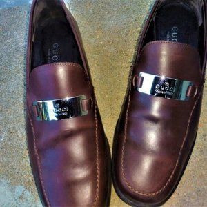Gucci GG Silver Plate leather loafers
